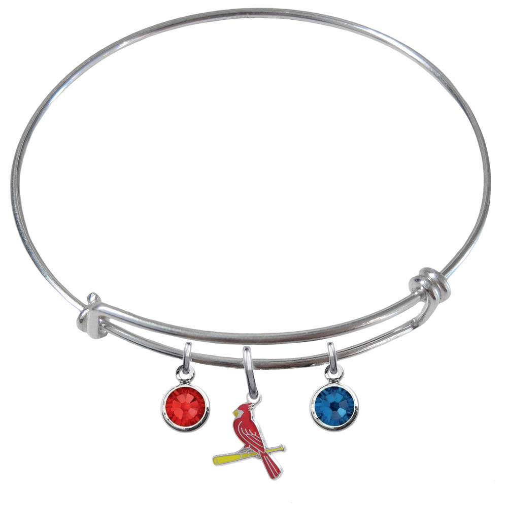 St Louis Cardinals Style 3 MLB Expandable Wire Bangle Charm Bracelet