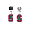 Stanford Cardinal BLACK & CLEAR Swarovski Crystal Stud Rhinestone Earrings
