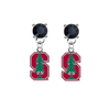 Stanford Cardinal BLACK Swarovski Crystal Stud Rhinestone Earrings