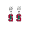 Stanford Cardinal CLEAR Swarovski Crystal Stud Rhinestone Earrings