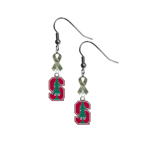 Stanford Cardinal Salute to Service Camouflage Camo Ribbon Dangle Earrings