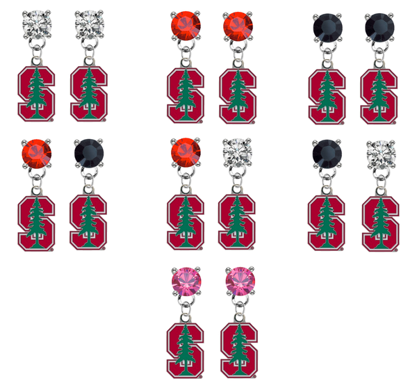 Stanford Cardinal NCAA Swarovski Crystal Stud Rhinestone Earrings