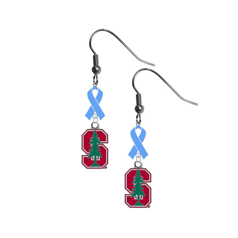 Stanford Cardinal Prostate Cancer Awareness Light Blue Ribbon Dangle Earrings
