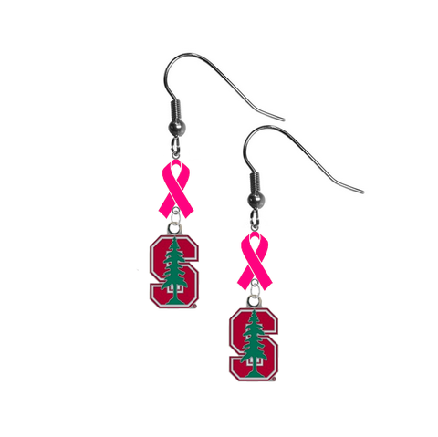 Stanford Cardinal Breast Cancer Awareness Hot Pink Ribbon Dangle Earrings