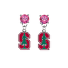Stanford Cardinal PINK Swarovski Crystal Stud Rhinestone Earrings