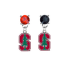 Stanford Cardinal RED & BLACK Swarovski Crystal Stud Rhinestone Earrings