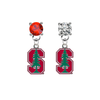 Stanford Cardinal RED & CLEAR Swarovski Crystal Stud Rhinestone Earrings
