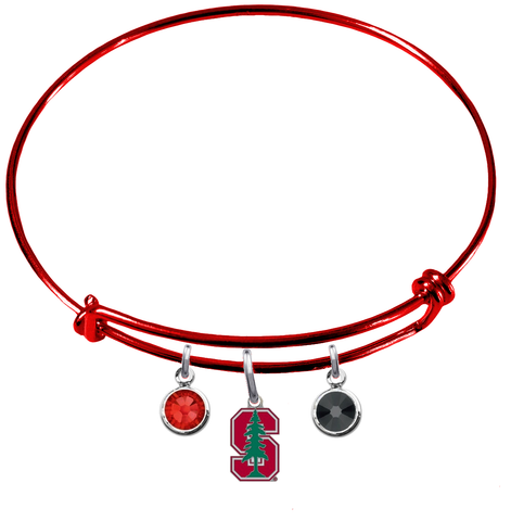 Stanford Cardinal RED Color Edition Expandable Wire Bangle Charm Bracelet