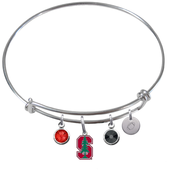 Stanford Cardinal Football Expandable Wire Bangle Charm Bracelet