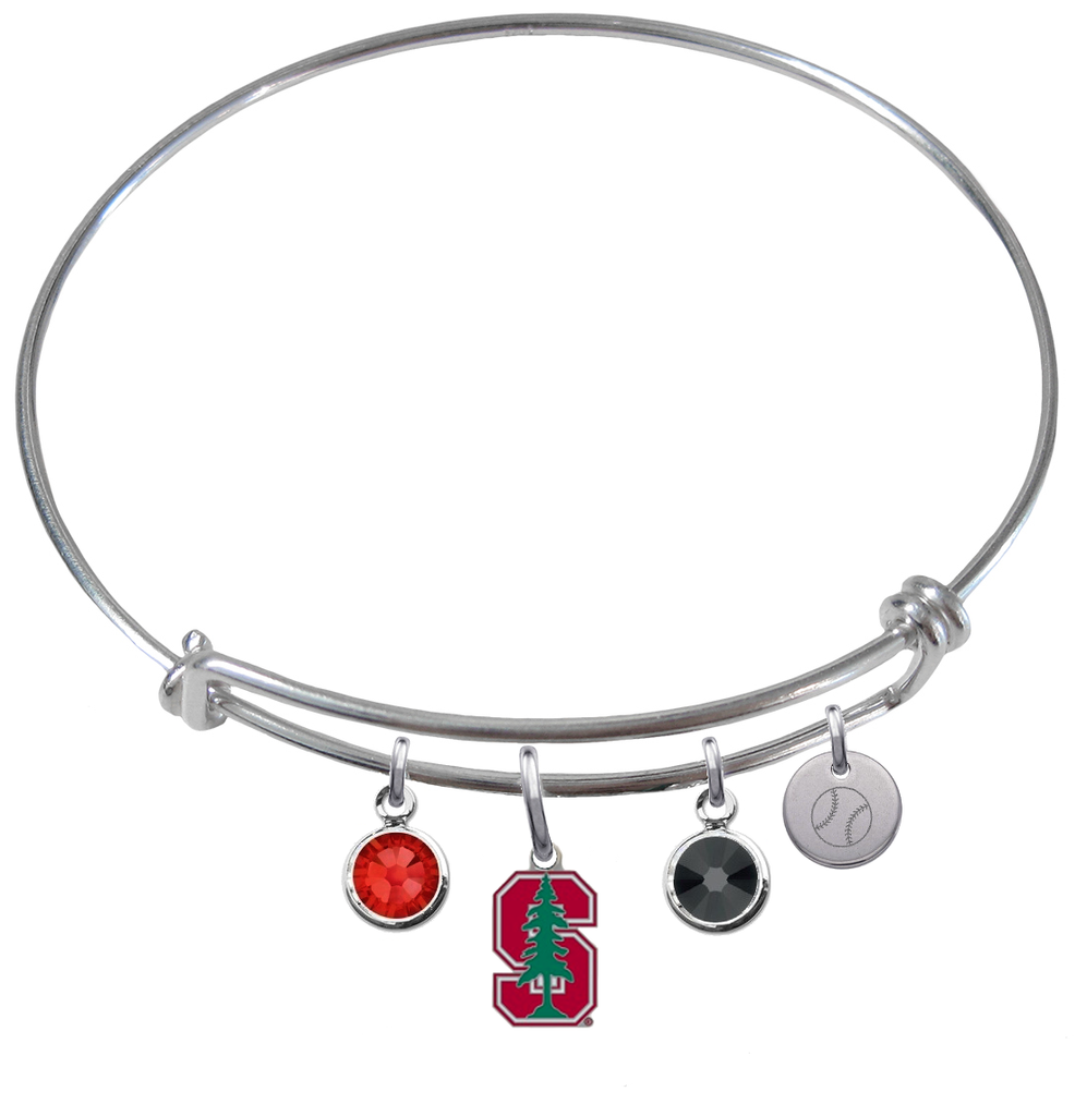 Stanford Cardinal Softball Expandable Wire Bangle Charm Bracelet