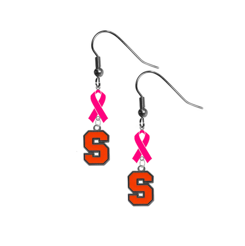 Syracuse Orange Breast Cancer Awareness Hot Pink Ribbon Dangle Earrings