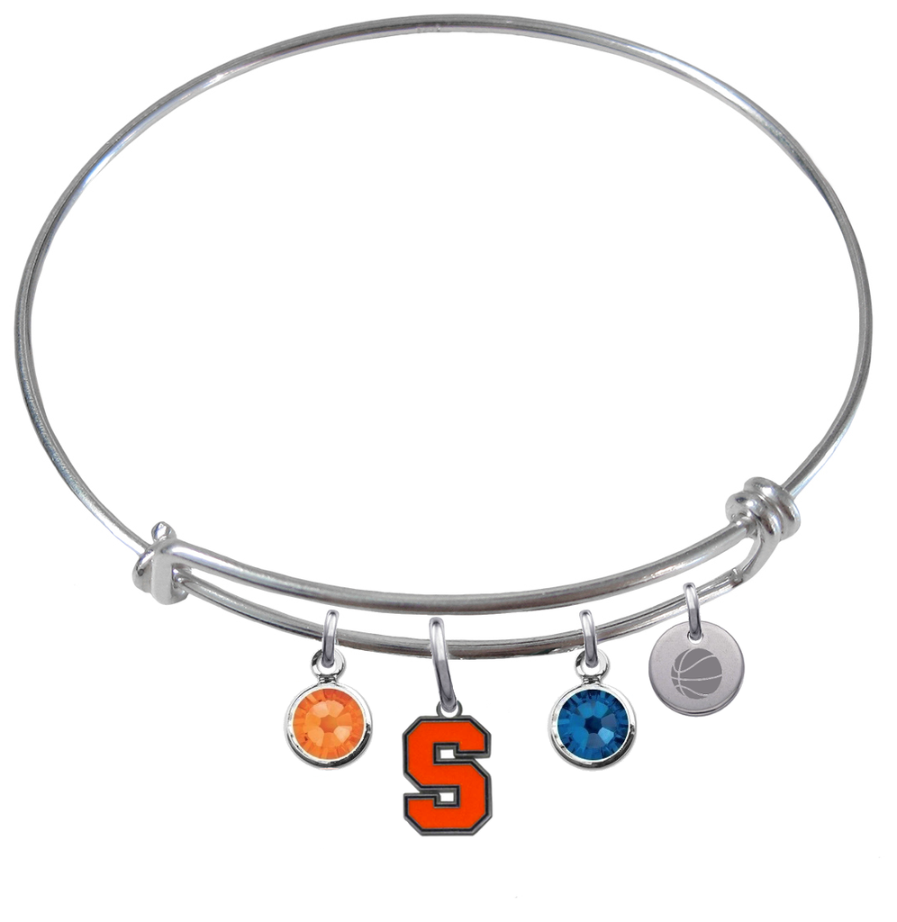 Syracuse Orange Basketball Expandable Wire Bangle Charm Bracelet