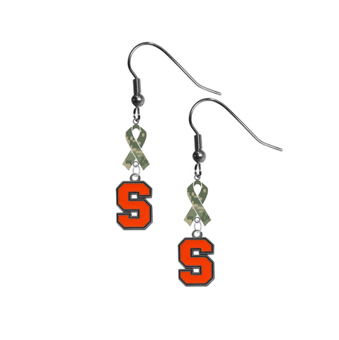 Syracuse Orange Salute to Service Camouflage Camo Ribbon Dangle Earrings