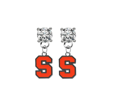 Syracuse Orange CLEAR Swarovski Crystal Stud Rhinestone Earrings