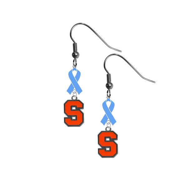 Syracuse Orange Prostate Cancer Awareness Light Blue Ribbon Dangle Earrings