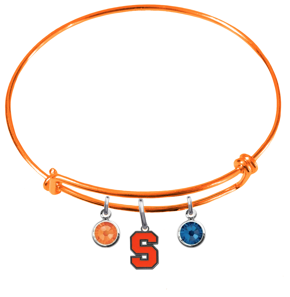 Syracuse Orange ORANGE Color Edition Expandable Wire Bangle Charm Bracelet