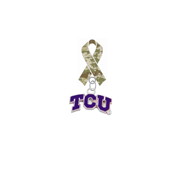 TCU Horned Frogs Salute to Service Military Appreciation Camo Ribbon Lapel Pin