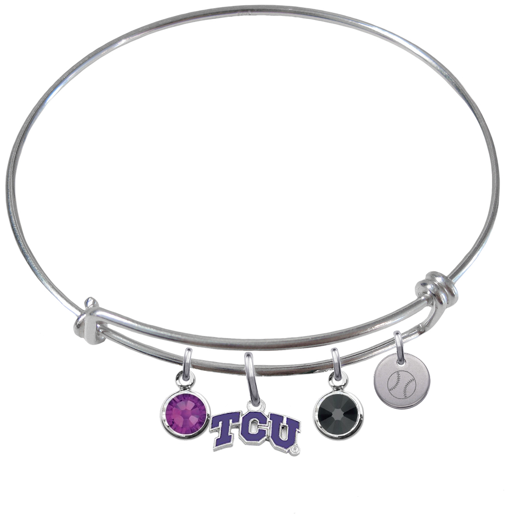 TCU Horned Frogs Baseball Expandable Wire Bangle Charm Bracelet