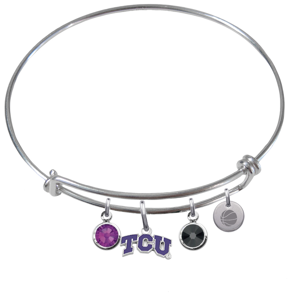 TCU Horned Frogs Basketball Expandable Wire Bangle Charm Bracelet