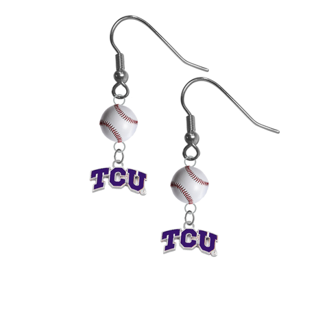 TCU Texas Christian Horned Frogs NCAA Baseball Dangle Earrings