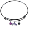 TCU Texas Christian Horned Frogs BLACK Color Edition Expandable Wire Bangle Charm Bracelet