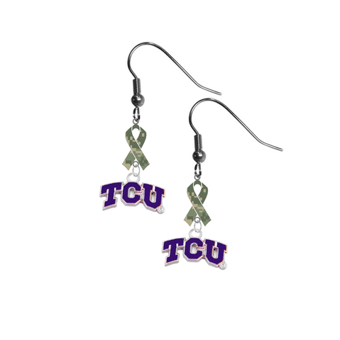 TCU Horned Frogs Salute to Service Camouflage Camo Ribbon Dangle Earrings
