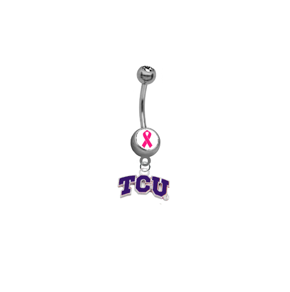 TCU Texas Christian Horned Frogs Breast Cancer Awareness Belly Button Navel Ring
