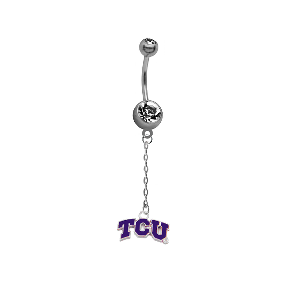 TCU Texas Christian Horned Frogs Dangle Chain Belly Button Navel Ring