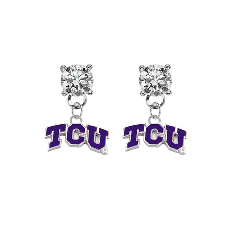 TCU Horned Frogs CLEAR Swarovski Crystal Stud Rhinestone Earrings