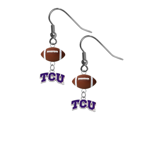 TCU Texas Christian Horned Frogs NCAA Football Dangle Earrings