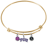 TCU Texas Christian Horned Frogs GOLD Color Edition Expandable Wire Bangle Charm Bracelet