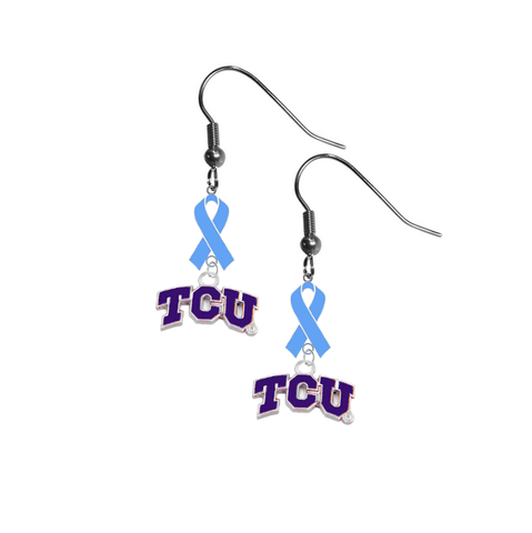 TCU Horned Frogs Prostate Cancer Awareness Light Blue Ribbon Dangle Earrings