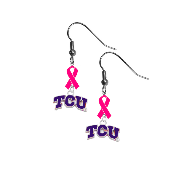 TCU Horned Frogs Breast Cancer Awareness Hot Pink Ribbon Dangle Earrings