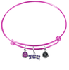 TCU Texas Christian Horned Frogs PINK Color Edition Expandable Wire Bangle Charm Bracelet