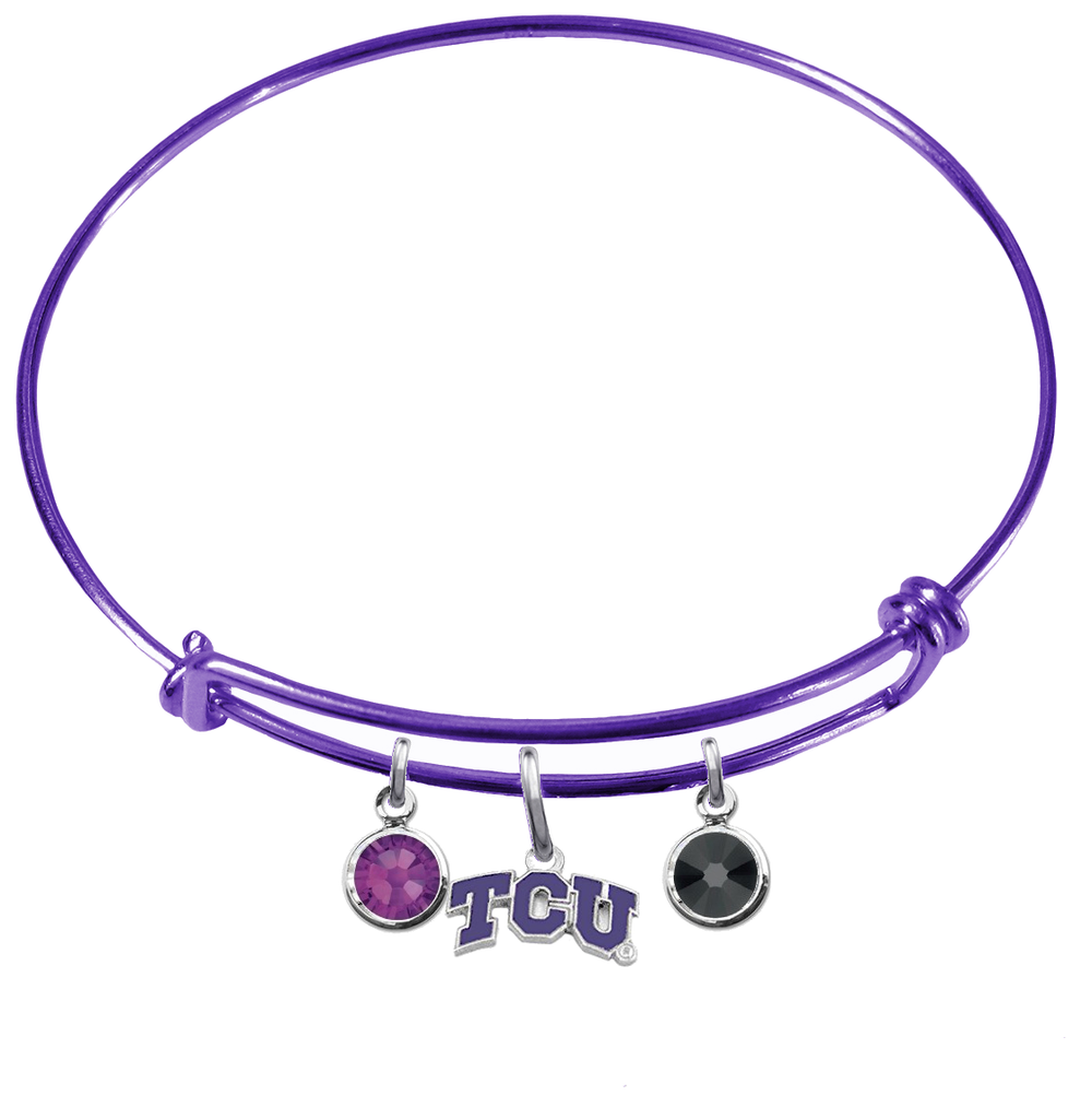 TCU Texas Christian Horned Frogs PURPLE Color Edition Expandable Wire Bangle Charm Bracelet