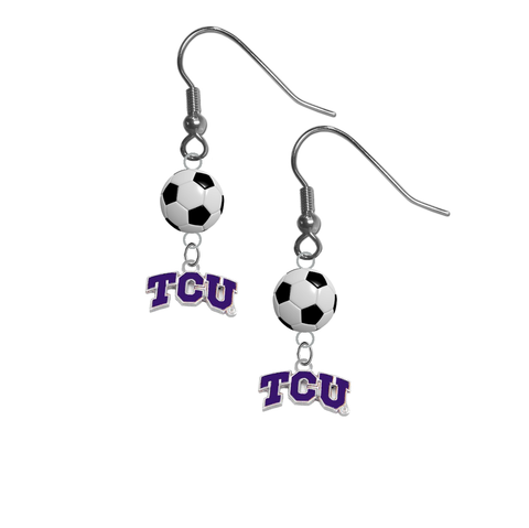 TCU Texas Christian Horned Frogs NCAA Soccer Dangle Earrings