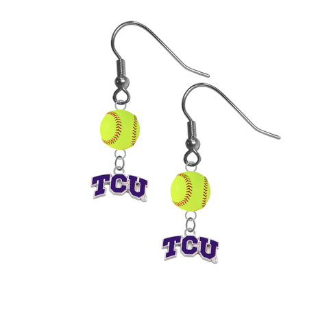 TCU Texas Christian Horned Frogs NCAA Fastpitch Softball Dangle Earrings