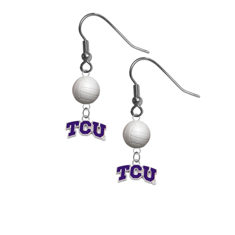 TCU Texas Christian Horned Frogs NCAA Volleyball Dangle Earrings