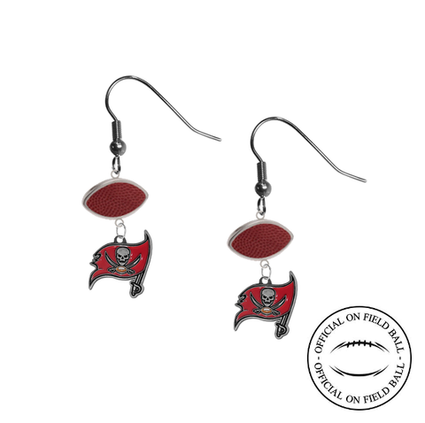 Tampa Bay Buccaneers NFL Authentic Official On Field Leather Football Dangle Earrings
