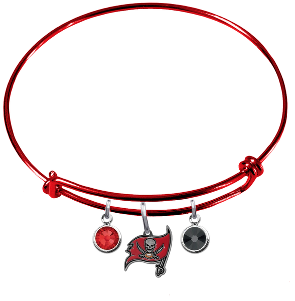 Tampa Bay Buccaneers Red NFL Expandable Wire Bangle Charm Bracelet