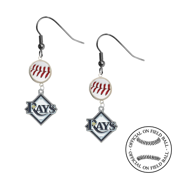 Tampa Bay Rays MLB Authentic Rawlings On Field Leather Baseball Dangle Earrings