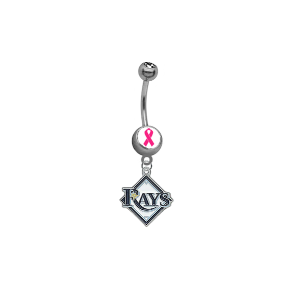 Tampa Bay Rays Breast Cancer Awareness Belly Button Navel Ring