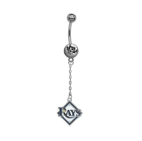 Tampa Bay Rays Dangle Chain Belly Button Navel Ring