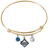 Tampa Bay Rays Gold MLB Expandable Wire Bangle Charm Bracelet
