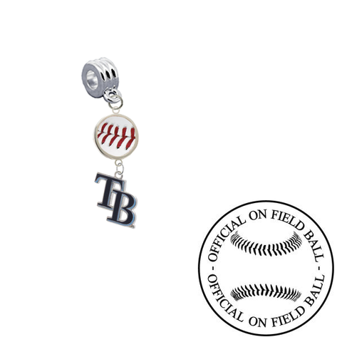 Tampa Bay Rays 2 On Field Baseball Universal European Bracelet Charm (Pandora Compatible)