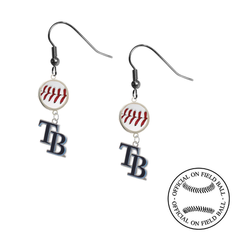 Tampa Bay Rays Style 2 MLB Authentic Rawlings On Field Leather Baseball Dangle Earrings