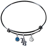 Tampa Bay Rays Style 2 Black MLB Expandable Wire Bangle Charm Bracelet