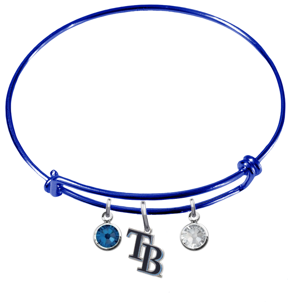 Tampa Bay Rays Style 2 Blue MLB Expandable Wire Bangle Charm Bracelet