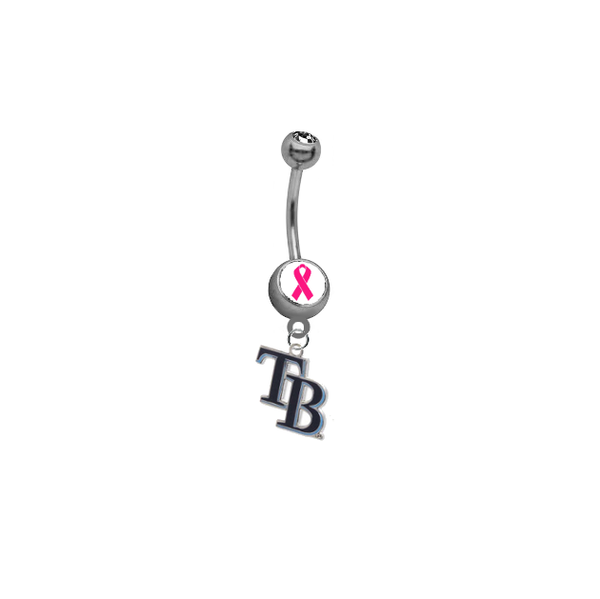 Tampa Bay Rays Style 2 Breast Cancer Awareness Belly Button Navel Ring