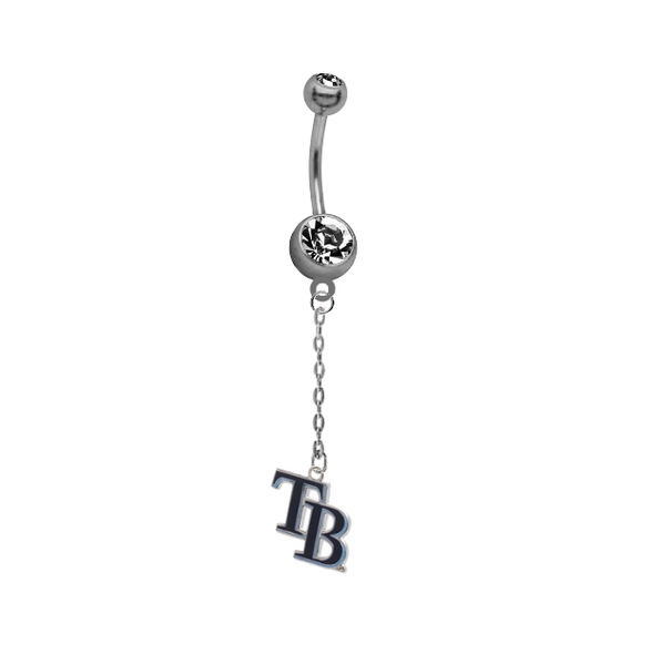 Tampa Bay Rays Style 2 Dangle Chain Belly Button Navel Ring